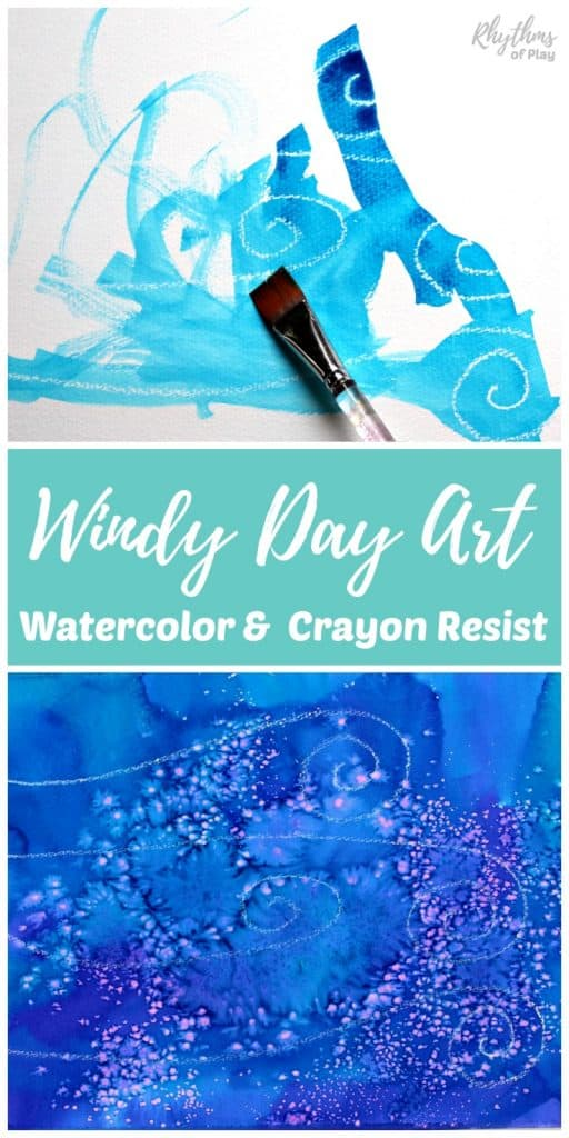 Fun art and science for kids. Creating windy day art is an easy STEAM project for kids to learn about watercolor resist techniques. Working with glue, crayons, pastels and other resist mediums will create different effects when used in combination with watercolor paints. Which do you think will resist watercolors the best and why? #STEAM #artproject #scienceforkids