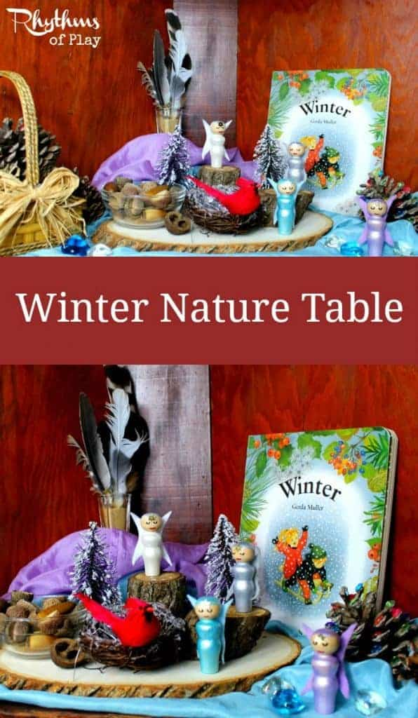 A winter nature table is an educational space in the home to place objects that reflect the season. Nature tables are great for play based learning. They are often found in homeschools and in Waldorf and Montessori education. It is meant to be played with, used as a nature study science learning aid, and enjoyed.