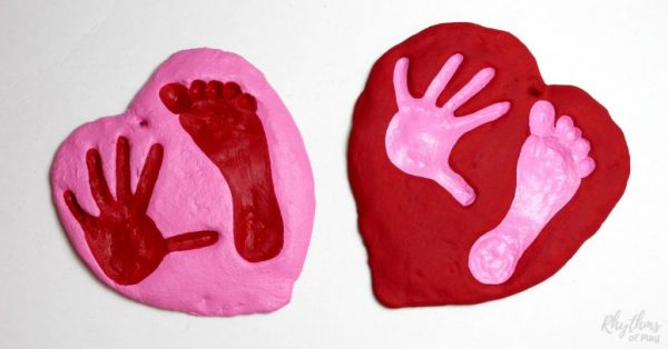 Salt dough handprint and footprint heart keepsake crafts and gifts kids can make.