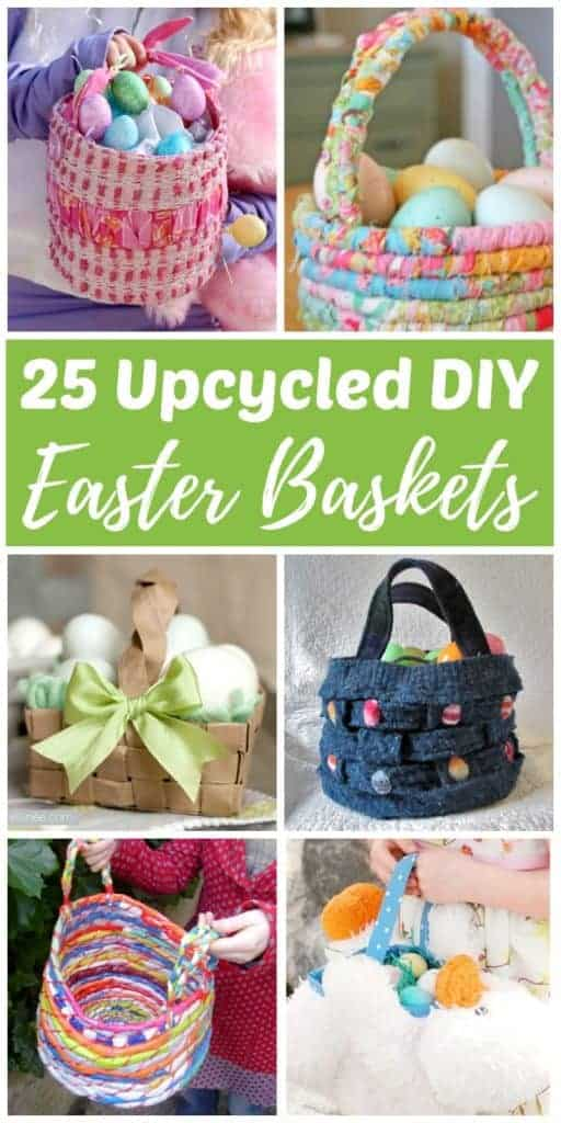 DIY upcycled Easter baskets make it easy to turn trash into a treasure the kids will love! Use recycled materials such as paper, fabric, sweaters, T-shirts, milk jugs, juice cartons, cans, bottles, plastic bags, and even stuffed animals to make your own super cute Easter baskets this spring. Try these eco-friendly Easter baskets ideas today!