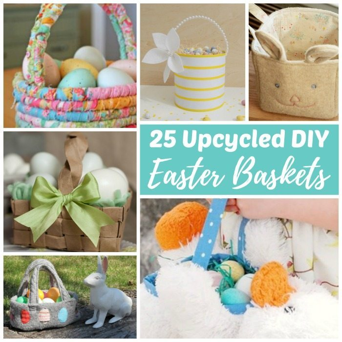 DIY upcycled Easter baskets made out of recycled materials