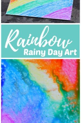 Rainbow rainy day art STEAM project for kids