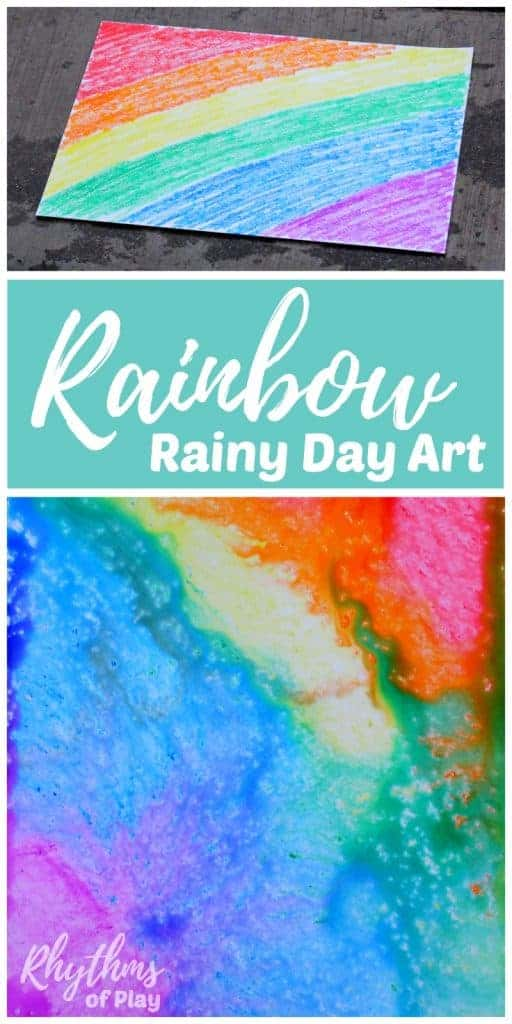 Rainbow rainy day art is an east art project and STEAM activity for kids. Toddlers, Preschoolers, and kids of all ages will enjoy this creative rain art and fun science learning activity. No rain? Click through to find out how to try this rainy day art activity using another easy method children LOVE! #STEAM #artforkids #rainbow #rainyday #rain #kidsart #science #artsandcrafts #preschool #toddlers #kindergarten