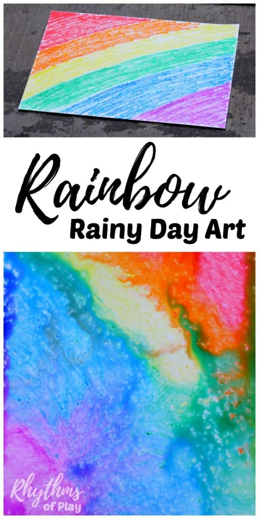 Rainbow rainy day art is a simple art and science STEAM project. Toddlers, Preschoolers, and kids of all ages will enjoy this creative rain art and science learning activity. No rain? Click through to find out how to try this rainy day art activity using another easy method kids will LOVE! #STEAM #artforkids #rainbow