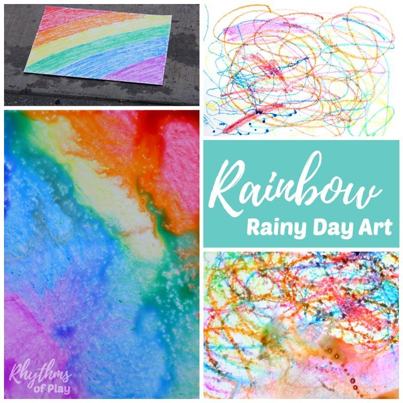 Rainbow rainy day art is a fun thing to do outside in the rain