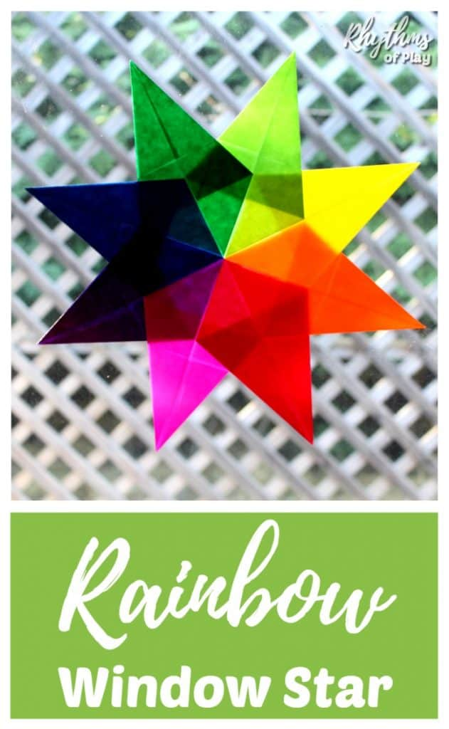 Making a rainbow window star is like origami and is a great fine motor activity and craft for kids. In Waldorf education, they are typically made during the winter months to add color to the winter landscape but can be made year round. Click through to learn how to make one of these rainbow suncatchers to brighten your day!