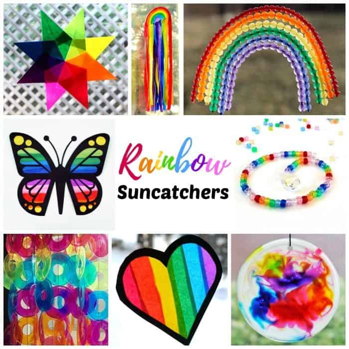 DIY Rainbow suncatchers kids craft ideas. Add a splash of color to your view any time of year. Click through to find a gorgeous collection of rainbow suncatcher crafts to choose from. These easy craft ideas are perfect for Saint Patrick's Day and year round fun!