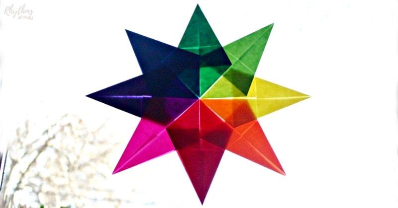 Rainbow Waldorf window star suncatcher made with kite paper
