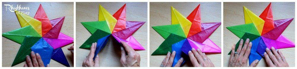 Waldorf rainbow window star assembly directions.