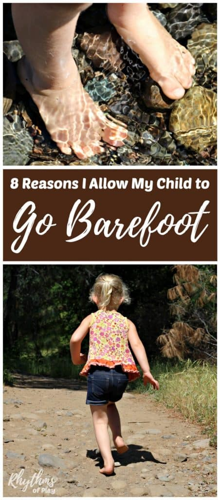 Childs feet in water and a kid running barefoot on a dirt trail.