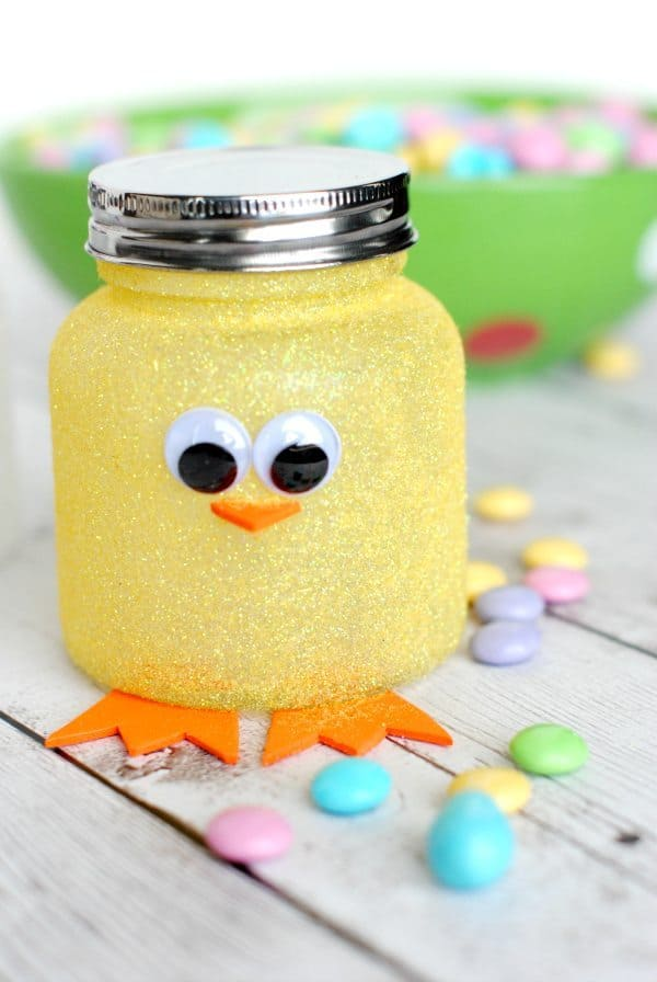 recycled upcycled spring chick jar craft