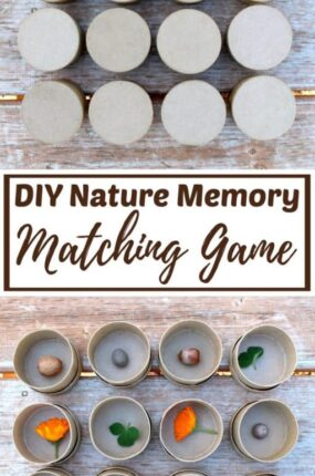 matching games - DIY nature memory match game - free memory games for kids and adults