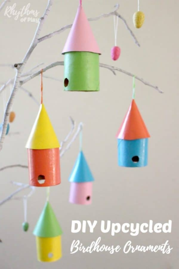 birdhouse craft made with recycled materials that can also be an ornament for an Easter or Christmas tree