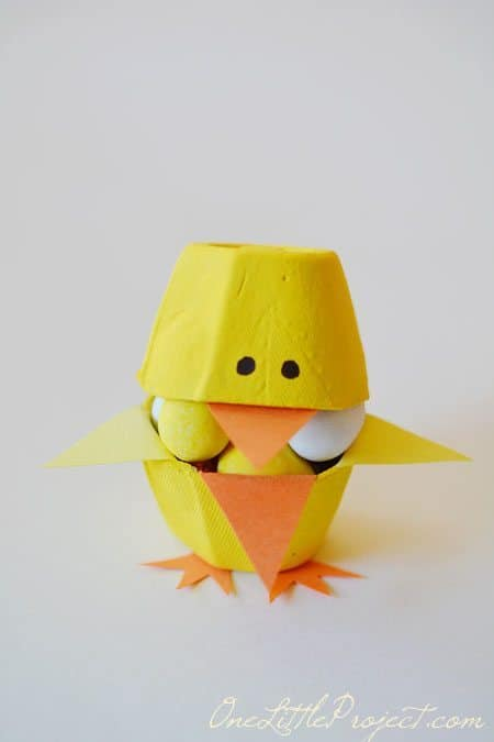 Candy-filled Egg Carton Easter Chick