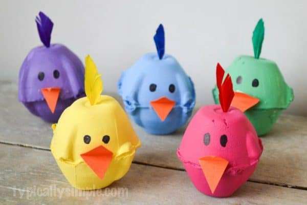 Colored Easter egg carton spring baby chick craft idea