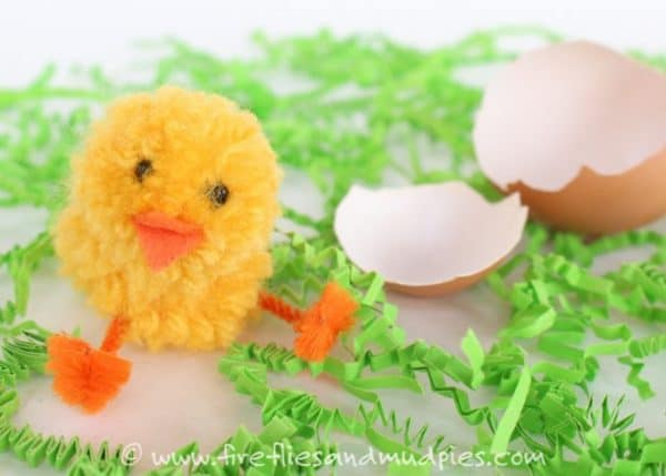 simple pom pom chick craft idea