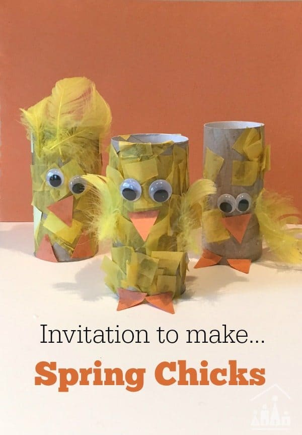 recycled spring chicks made out of toilet paper rolls