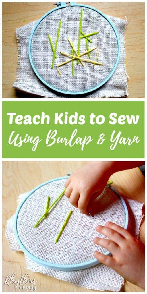 Learning to sew is a great fine motor activity for kids! Teach kids how to sew using burlap and yarn for an easy first lesson in the mechanics of sewing. Learning how to sew on burlap is a fun sewing lesson for beginners to try before attempting more advanced forms of embroidery. #sew #sewing #sewingforkids