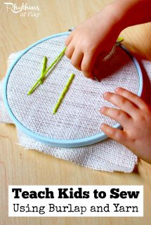 Teach Kids to Sew Using Burlap and Yarn