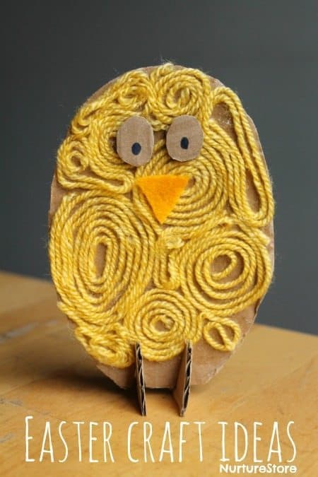 Spring Chick Easter Craft Idea Made with Recycled Materials