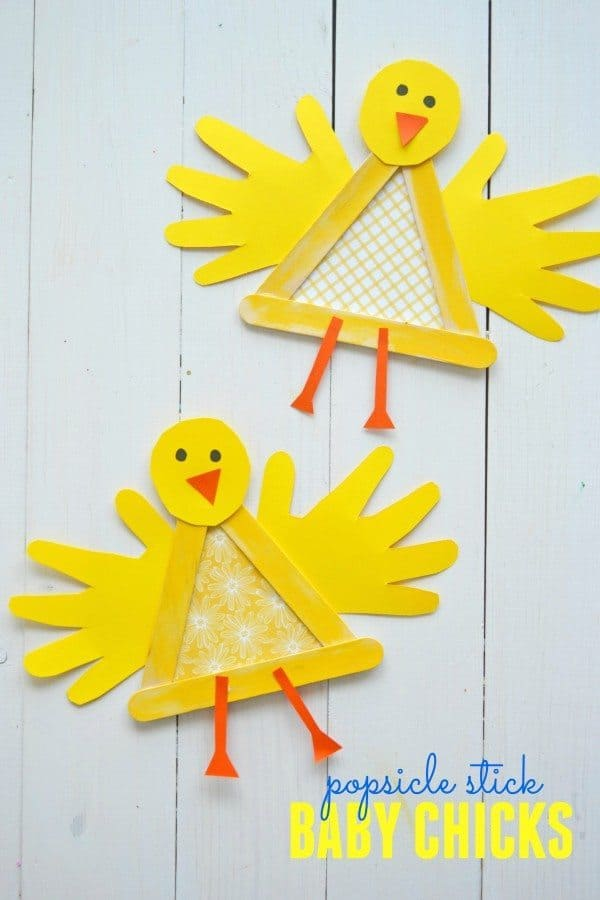 popsicle stick baby chicks for Easter