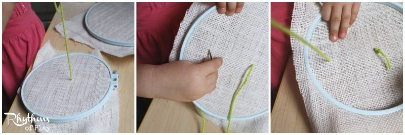 sewing burlap first steps