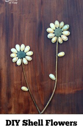 DIY Shell flowers are a simple nature craft and fine motor activity for both kids and adults. They make lovely home decor and are a great gift for Mother's Day, Christmas, birthday's, and anniversaries! They are the perfect gift for the fourth wedding anniversary which is traditionally flowers.