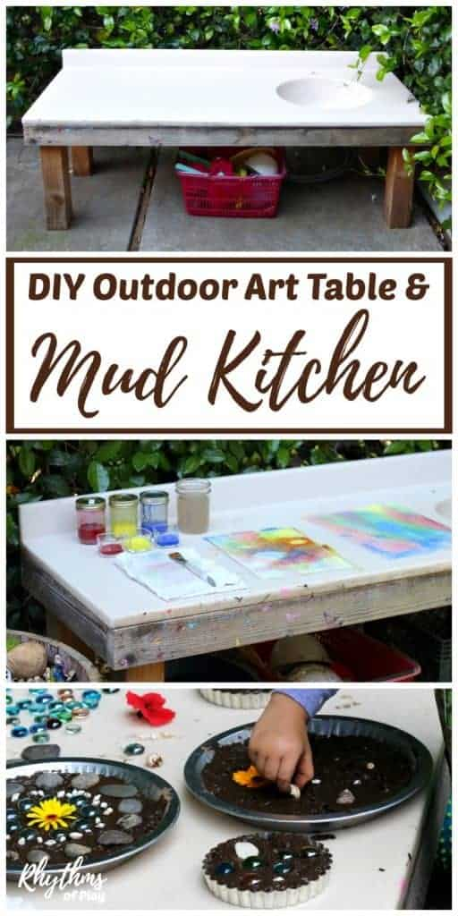DIY outdoor art table and mud pie kitchen