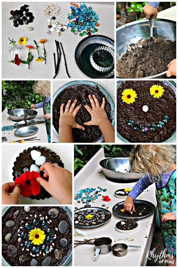 Mud pie nature art and sensory activity for kids