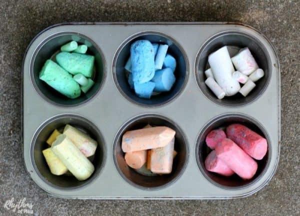 color sort sidewalk chalk to make DIY chalk paint