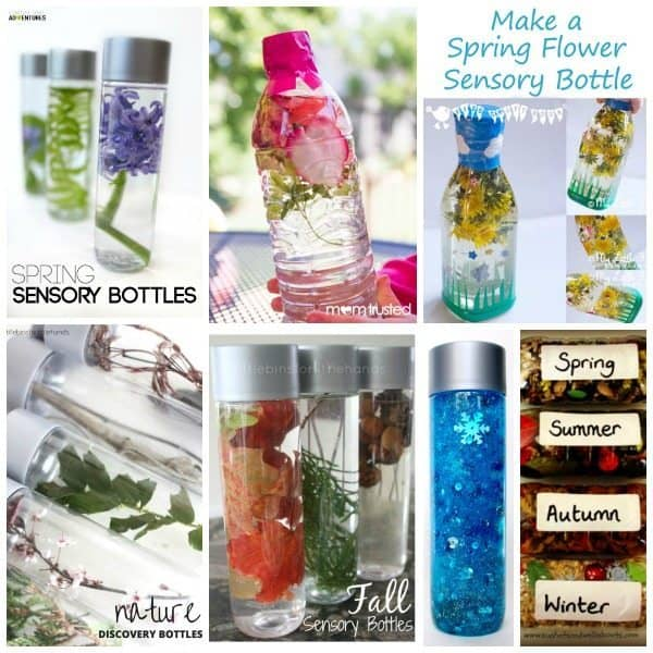 Nature Inspired Sensory Bottles can be used in many ways. They can be used for safe no mess safe sensory play, a teaching aid, a time out tool, and to help children (and adults) calm down and unwind. They are also the perfect way for babies and toddlers to safely investigate natural items without the risk of choking on them. DIY Calm Down Jar | Nature Sensory Bottle | Nature Discovery Bottle