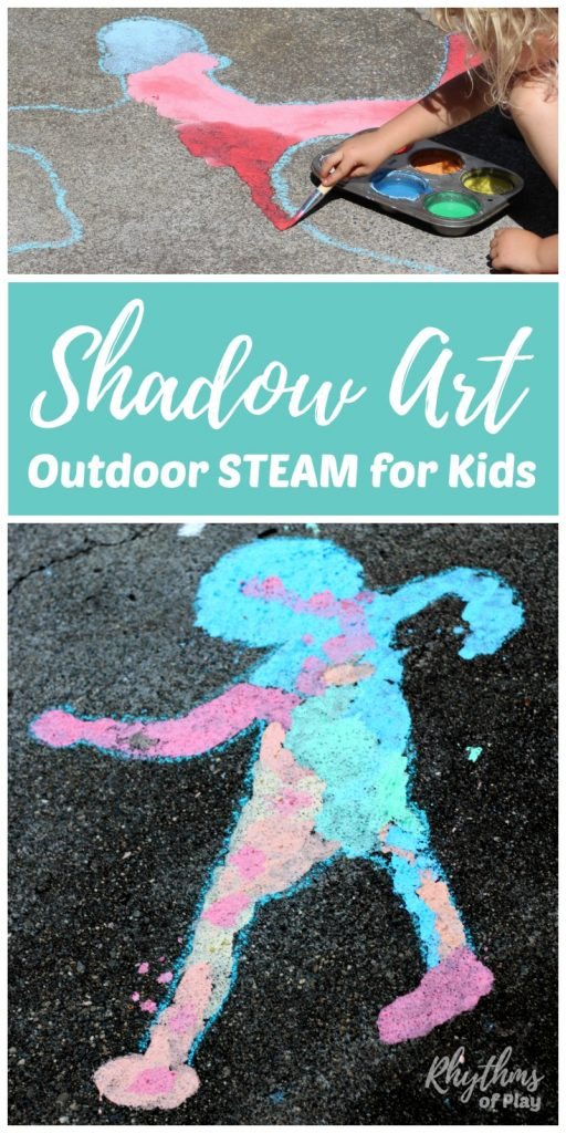 Shadow art outdoor science hands-on STEAM activity for kids