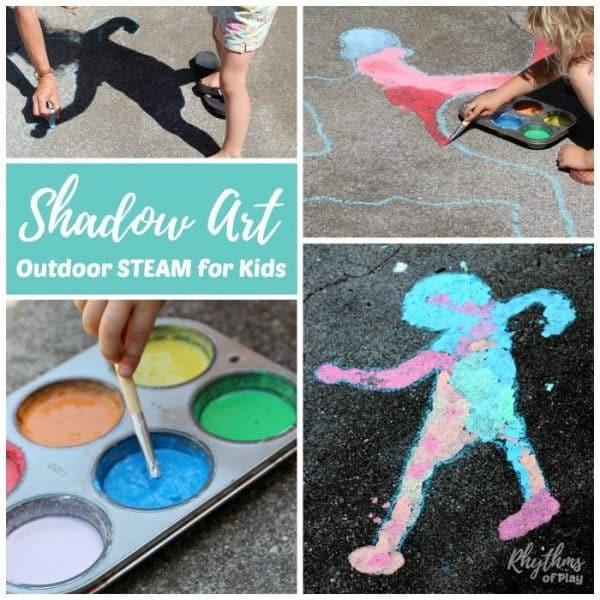Shadow sidewalk art art outdoor science is a hands-on STEAM activity that will help children learn about shadows while making art. A fun outside art and science activity for toddlers to adults!