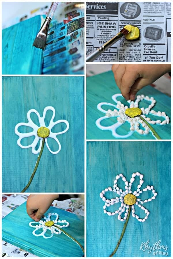 daisy flower shell crafts step by step photo tutorial