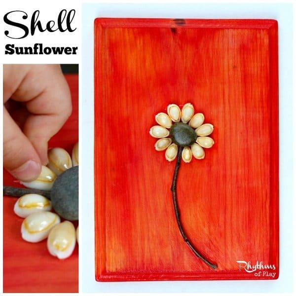 This shell sunflower craft is a simple nature craft and fine motor activity for both kids and adults. They make lovely home decor and are a great gift for Mother's Day, Christmas, birthday's, and anniversaries! They are the perfect gift for the fourth wedding anniversary which is traditionally flo