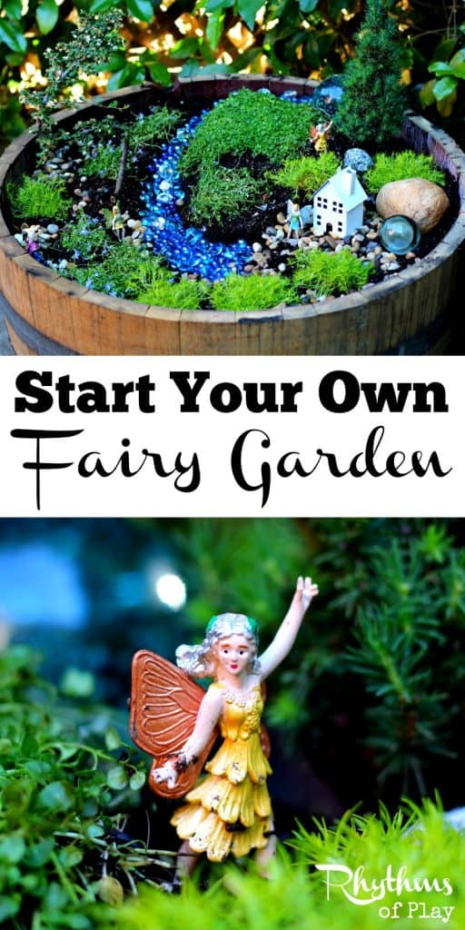 Learn how to start your own fairy garden using these easy tips and tricks! Miniature gardens like this fairy garden are a lovely addition to any porch, deck, backyard, or garden. They also make magical small worlds for kids that are perfect for pretend play. How to Start a Fairy Garden | How to Make a Fairy Garden | How to create a fairy garden | DIY Fairy Garden | Small World | Imaginative Play | Gardening with Kids