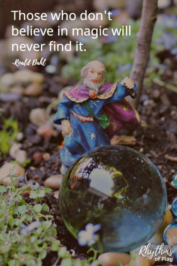 DIY fairy garden with a wizard - Those who don't believe in magic will never find it.