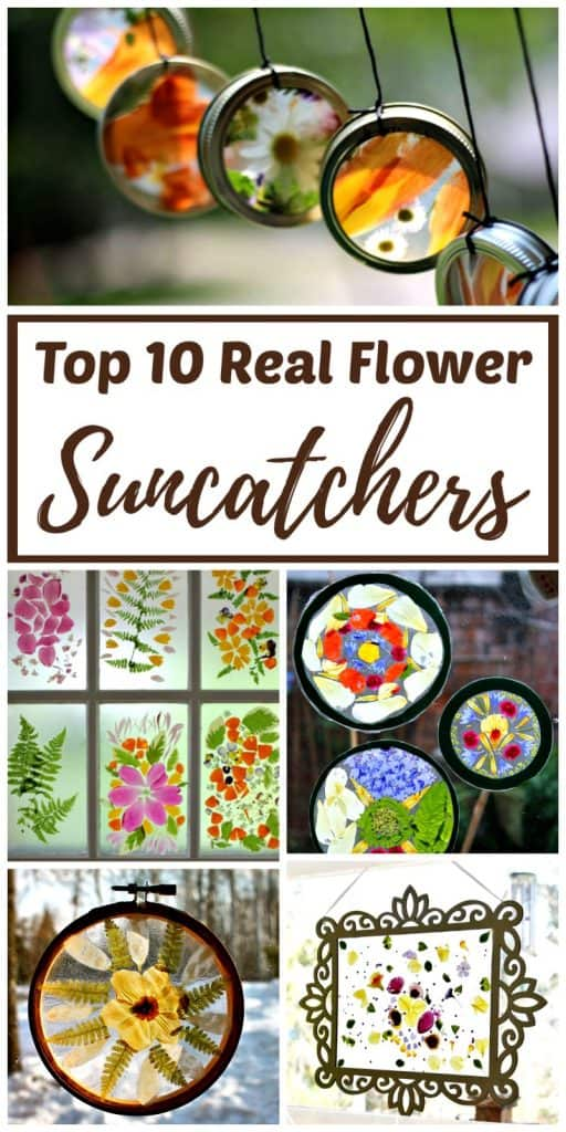 real flower suncatcher crafts kids can make
