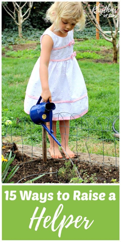 Child watering plants in the garden to help with household chores