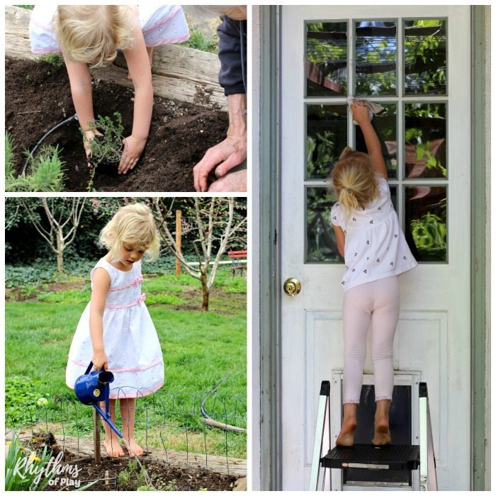 child doing chores around the house and garden