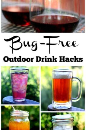 These bug-free outdoor drink hacks are perfect for the entire family. The tips contained in this article will keep your outdoor drinks bug free and your family happy. Many of these hacks are also perfect for travel or drinks to go. From water, to wine, to green smoothies, these will keep you covered!