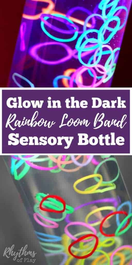 Sensory bottles like this DIY glow in the dark rainbow loom band sensory bottle are commonly used for calming an overwhelmed child. Discovery bottles are also great for no mess safe sensory play for kids. Babies, toddlers, and preschoolers can safely investigate small objects without the risk of choking. This one is a great bedtime soothing bottle. It would also make a great decoration idea or favor for a party.