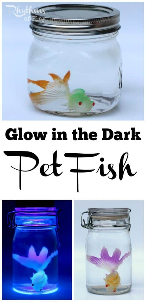 This DIY glow in the dark pet fish sensory bottle in its cute little bowl is perfect for soothing kids at bedtime. They also make an easy decoration for a party, or a fun gift idea for birthdays, Christmas, or any other occasion!