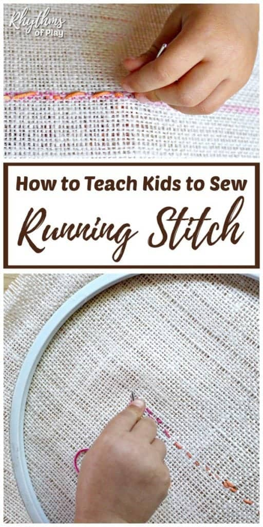 Running stitch sewing lesson for children.