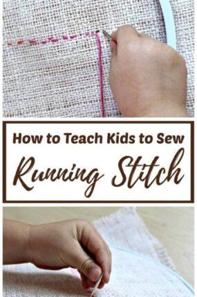 how to teach kids to sew running stitch.