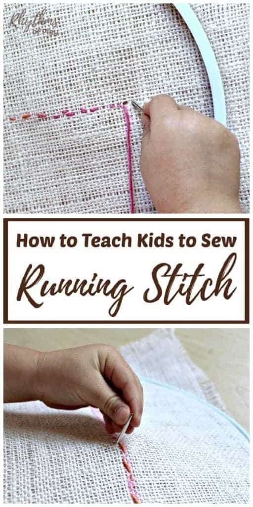 how to teach kids to sew running stitch.