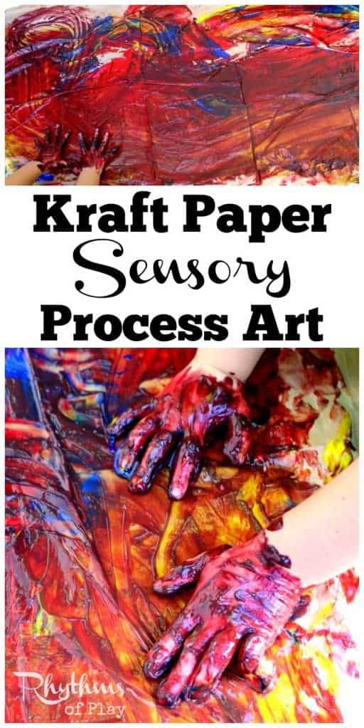 Kraft paper sensory process art is a fun project for kids to practice using art materials while developing their sensory systems. Children can experiment with their own creativity as they create art. You can use new or re-used recycled kraft or packing paper for this DIY art activity idea!