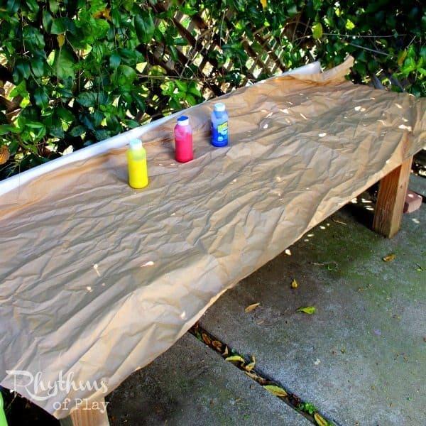 Kraft paper sensory process art table