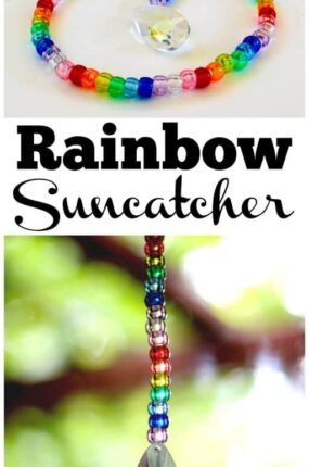 Making a pony bead and prism suncatcher is a fun fine motor activity for kids and adults of all ages. Suncatchers made out of beads in a rainbow of colors are lovely home decor to hang in a window and enjoy. The prism will cast beautiful rainbows all over the room when the sun hits it. These would make a great decoration or favor idea for a rainbow party. This DIY craft project also makes a wonderful gift idea for Christmas, birthdays or any other occasion!