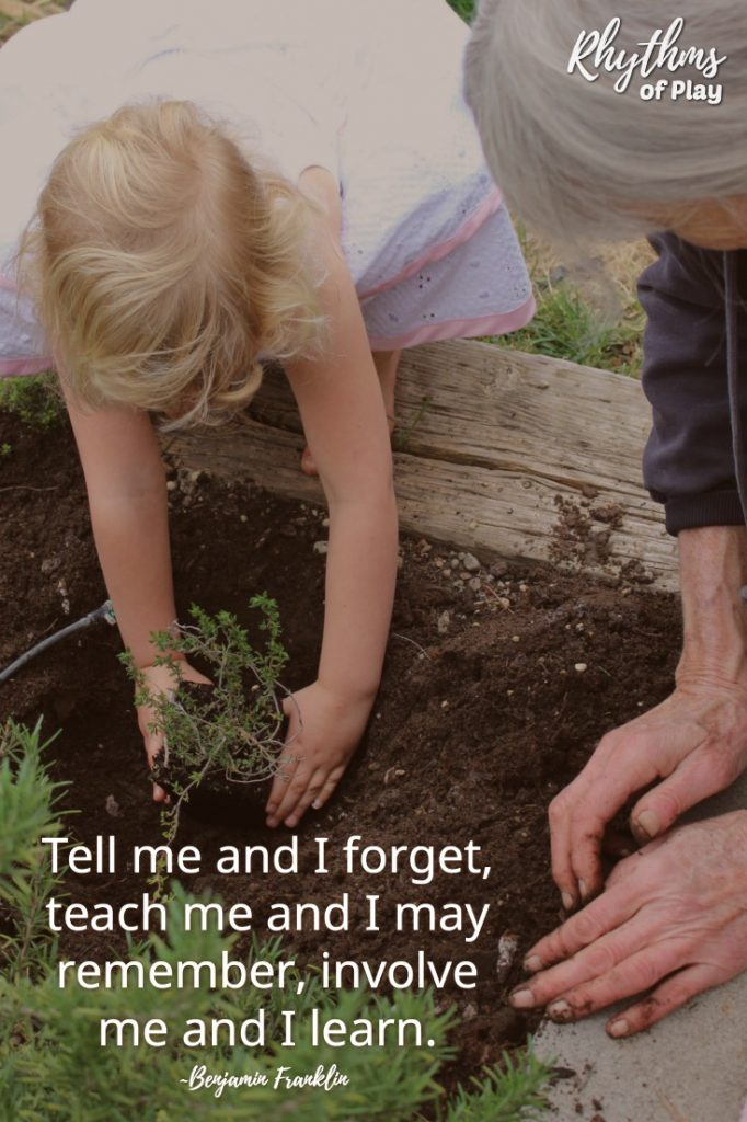 Child helping grandma in garden - Tell me and I forget, teach me and I may remember, involve me and I learn. ~Benjamin Franklin